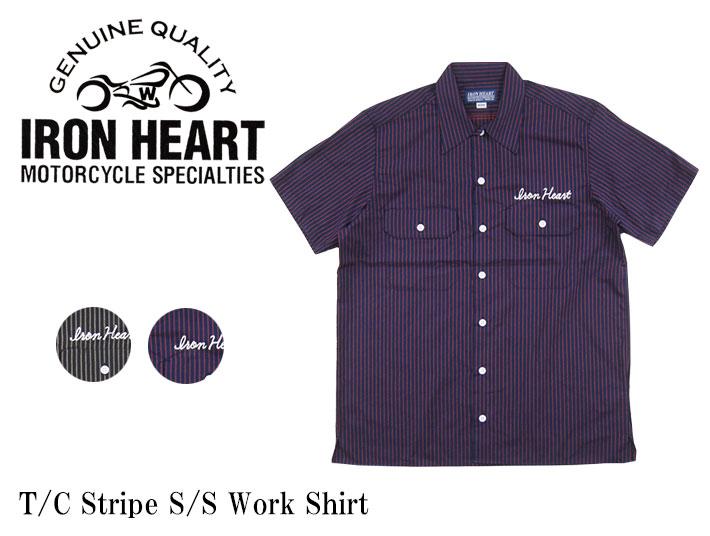 iron heart t c ストライプ 半袖ワークシャツ ihsh 151 joe